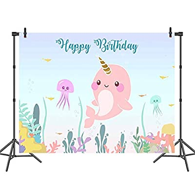 Hot Queen Narwhal Happy Birthday Backdrop Baby ...