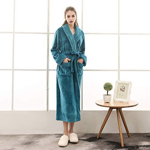 WTBI Otoño e invierno más tamaño de franela par pijamas para hombres y mujeres, Beibei terciopelo costuras engrosamiento y alargamiento albornoz de baño-1624-Verde oscuro hembra, XXXL