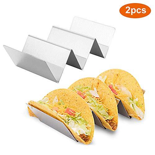 2 Stück Taco-Halter, Taco-Ständer aus Edelstahl Taco-Ständer für 3 harte/weiche Taco-Schalen, Sandwiches und Hot Dogs-Pfannkuchen
