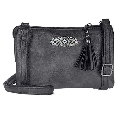 Schuhmacher Trachtentasche Dirndltasche kleine Umhängetasche Kunst-Leder anthrazit-grau dunkelgrau metallic