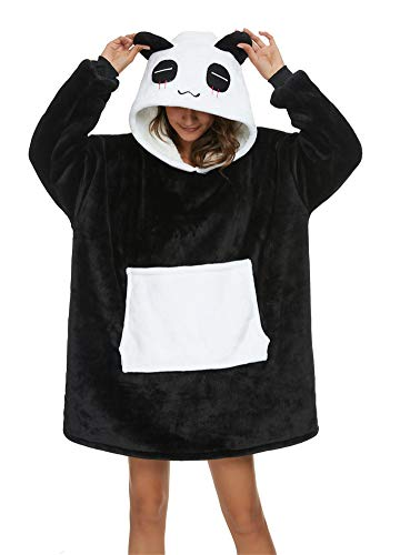 Unisexe Sweat à Capuche Panda Pull Large Robe de Chambre Animal Microfibre Couverture Flanelle Panda Mignon Douce Epaisse Chaud avec Grandes Poches (Panda, M (Comvient pour 150CM/170CM))