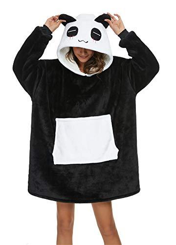 Coperta da Divano Panda Coperta con Cappuccio Taglie Forti Unisex Caldo Plaid con Maniche Tasca Divertente Felpone (Nero, Taglie M: Adatto per altezza 150 e 175 cm)