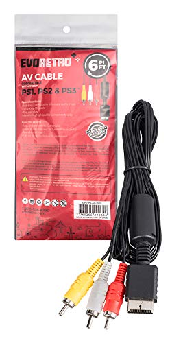 AV Video Cable Cord Compatible for PlayStation PS1 PS2 PS3 TV Game 6 ft by EVORETRO