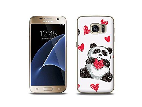etuo Custodia per Samsung Galaxy S7, motivo panda con cuore
