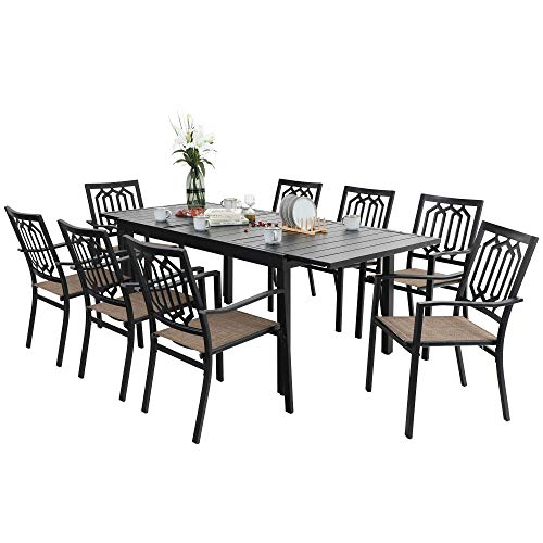 PHI VILLA 9 PCS Outdoor Dining Set,1 Extendable Dining Table and 8 Sling Chairs Support 300 lbs for Outdoor Backyard Bistro Furniture Set
