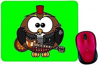 Alfombrilla para ratón con diseño de búho, anarquía, animales, pájaros, peluches, animales, mosaicos, lunares, en negro, b...