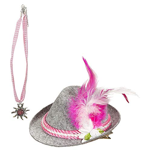 Widmann 00109 Bayerin set, minihut en ketting, dames, roze, eenheidsmaat