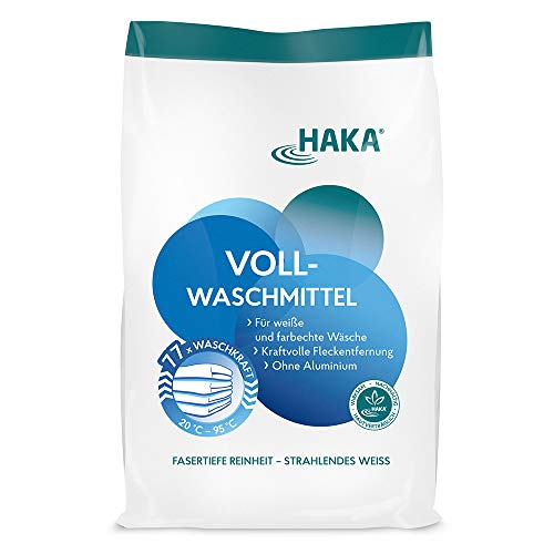 HAKA Vollwaschmittel I 3kg Waschpulver I Universalwaschmittel für weiße, farbechte Textilien I 77 Waschladungen pro Beutel