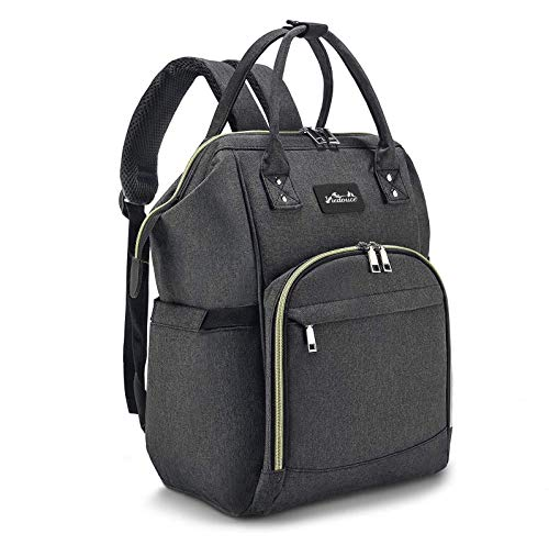 Viedouce Backpack Diaper Bag for Mom Dad with Baby Diaper Changing Pad Stroller Straps, Dark Gray