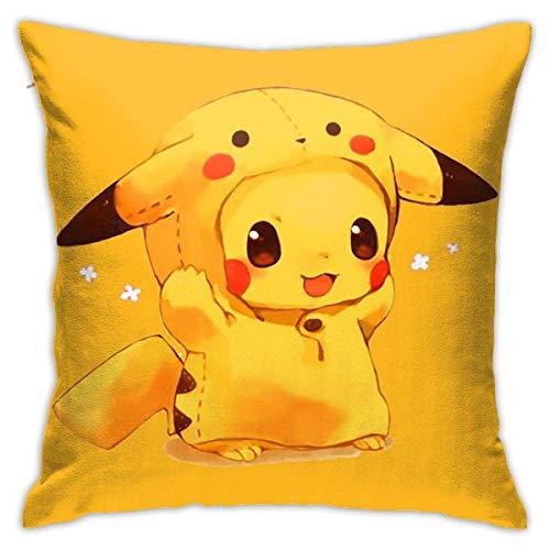 tour Cute Poke-Mon Pika-CHU Cotton Pillow Throw Cushion Cover Case Home Decoration Fundas para Almohada 26x26Inch(65cmx65cm)