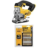 DEWALT DCS331B 20-Volt MAX Li-Ion Jig Saw (Tool Only), Yellow with DEWALT DW3741C 10-Piece T-Shank Jig Saw Blade Set w/Case