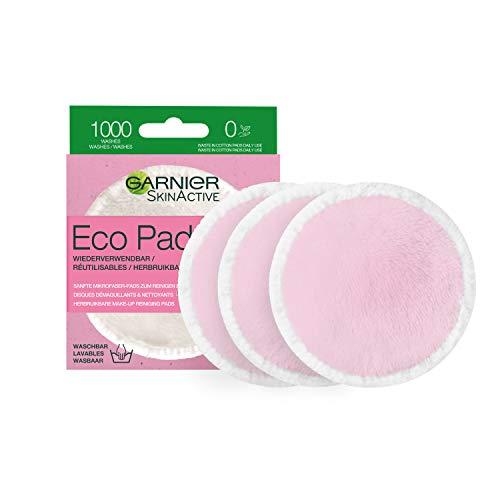 Garnier Skin Active Coton Démaquillant Réutilisable et Lavable, Microfibres Doux, Lot de 3 Disques