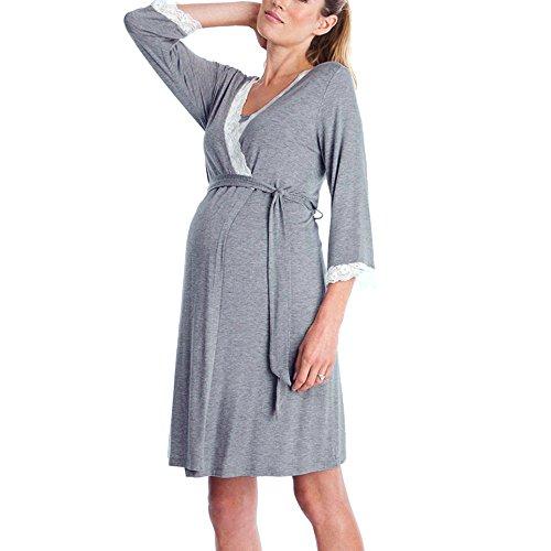 STRIR Vestido de Lactancia Maternidad de Noche Manga 3/4 Camisón Mujeres Embarazadas Ropa de Dormir Premamá Pijama Verano Encaje (S, Gris Oscuro)