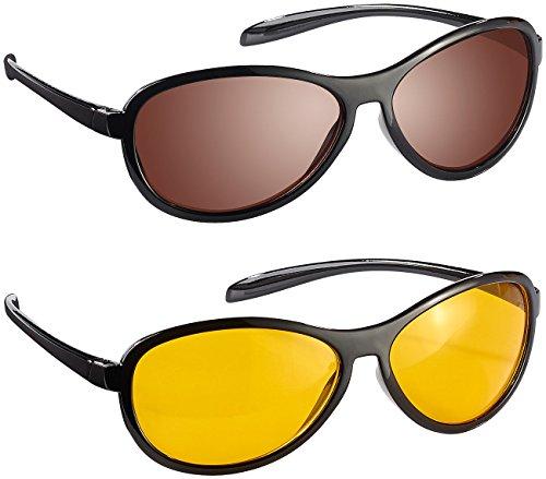 infactory Day Sight Brille: HD Kontrast-Brillen-Set Night Vision & Day Vision, polarisiert (Daysight)