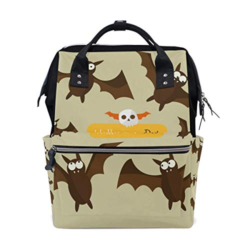 JDHFJ mochila de momia Diaper Bag Halloween Bat Emotion Travel Backpack Large Capacity Shoulder Mom Bags for Travel Mammy Women Girls