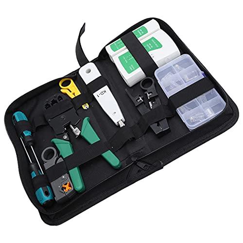 Kit de herramientas de mantenimiento de reparación de cables de red RJ45 RJ11 LAN probador de cables crimper Stripper, kit de herramientas de bricolaje