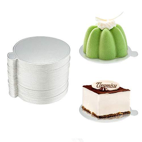 FAVENGO 100 Stück Tortenunterlage Pappe Cake Board Mini Tortenplatte Einweg Kuchenplatte Rund Kuchenunterlage Dessert Display Törtchen Untersetzer für Mousse Kuchen Cupcake Hochzeit Geburtstag Party