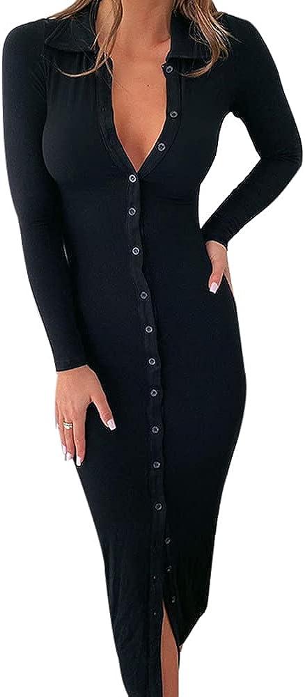 Women's Rib Knit Cotton Long Sleeve Midi Dresses Stretch Bodycon Casual Sweater Button Down Swing Split Dress