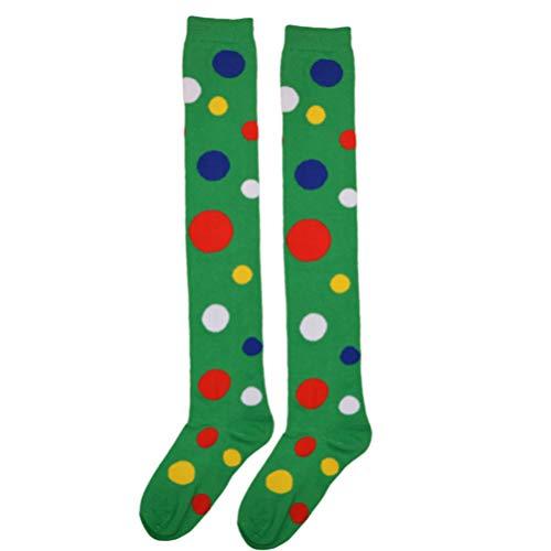 PRETYZOOM Polka Dot Clown Socken Frauen Mädchen über Kniestrümpfe Clown Kostüm Cosplay Party Strumpf (grün)