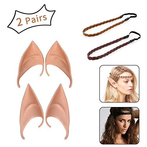 XCOZU 2 Pairs Latex Elf Ears, Pixie Fairy Elven Prosthetic Ears with 2 Pcs Hair Braid ideal for Kids Adult Women Cosplay, Hobbit Alien Ears for Halloween Anime Party Masquerade Decorations