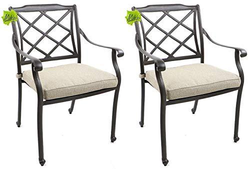 Made for us® 2 Alu Gartenstühle, aus wetterfestem Alu-Guss, Garten-Stuhl mit UV beständiger AkzoNobel Einbrennlackierung. Inkl. waschbaren Sitzkissen. Platzsparend stapelbar. (2 Gartenstühle)