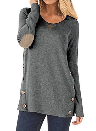 NICIAS Mujeres Botones en Ambos Lados Manga Larga Casual Cuello Redondo Parche en el Codo Camisa de Entrenamiento Camiseta de Suelta Blusas Chaqueta de Túnica(Gris Oscuro