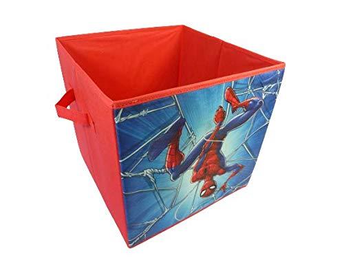 Scatola a forma di cubo con manici, vari motivi disponibili, pratica per riporre giocattoli o simili, giocattoli per bambini, scatola portaoggetti, giocattoli (Spiderman)
