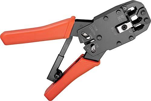 Fixpoint 77267 Crimpzange für Modularstecker inklusiv Kabelschneider und Abisolierer, Orange/chwarz