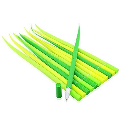 DDG EDMMS 12Pcs grünes Gras Form Kugelschreiber Silikon Gras Stift mit schwarzer Tinte 0,38 mm Gelschreiber