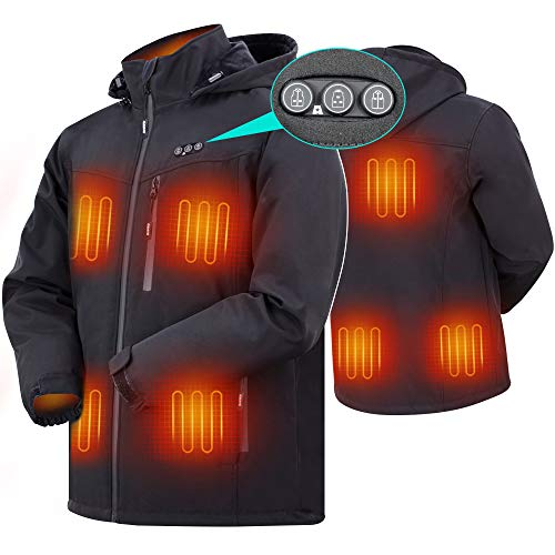 ARRIS Heated Jacket for Men, Electric Warm Heating Coat with 7.4V Rechargable Battery 8 Heating Areas Phone Charging Black …