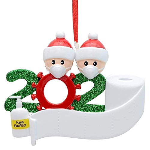 LOANPE Funny 2020 Quarantine Survivor Family Customized Christmas Decorating Kit Creative Gift for Couples Couples Friends, Personalized Name Christmas Ornament with Mask and Hand Sanitizer