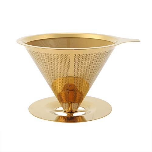 Filtro de polvo de café, verter sobre el filtro simple de usar acero inoxidable dorado para acampar para taza cafetera para filtrar café