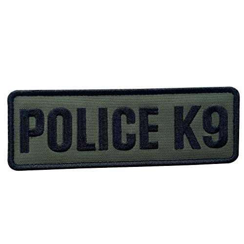uuKen Embroidery Fabric Cloth Police K9 Unit Embroidered Military Tactical Patch 6x2 inches with Hook Fastener Back for Tactical Vest or Harness (OD Green and Black, 6'x2')