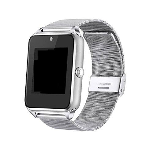 Reloj Inteligente Reloj de Pulsera Bluetooth de 1.5 Pulgadas con cámara Ranura para Tarjeta TF/SIM podómetro Anti grabación perdida para Hombres Mujeres (Plata)