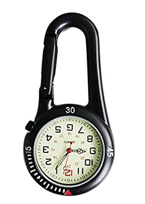 Outdoor Hook Watches Quartz Clip Carabiner Watches Come with Extra Battery (Black) from AMONS