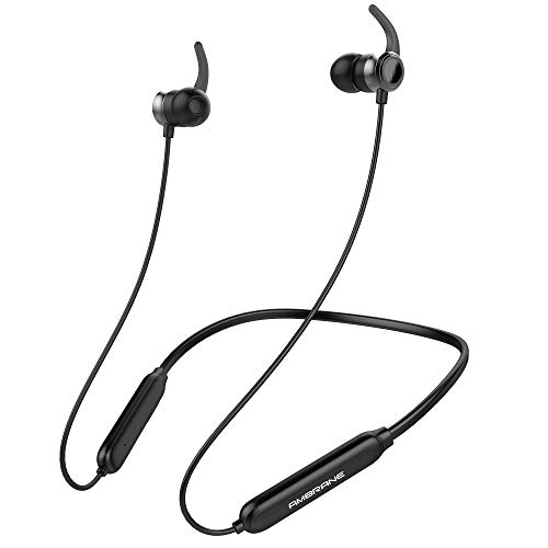 Ambrane Bassband Bluetooth Wireless in Ear Earphones with Mic, High Bass Stereo Sound, 8 Hours Playtime, Water Splash Proof, inbuilt Mic (ANB-33, Black)