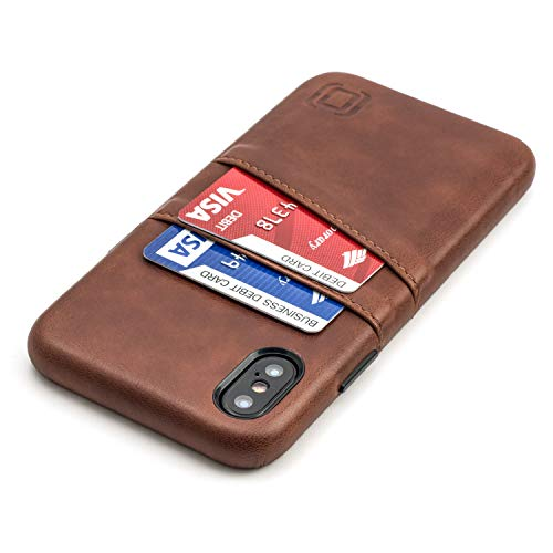 "Dockem iPhone X/XS Wallet Case: Built-in Metal Plate for Magnetic Mounting & 2 Credit Card Holders (5.8"" Exec M2, Synthetic Leather, Brown)"