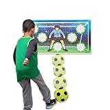 Wallup Games Indoor Soccer Goal Game with 2ft x 4ft Vinyl Wall Goal, Kids Soccer Ball & Ball Pump Included