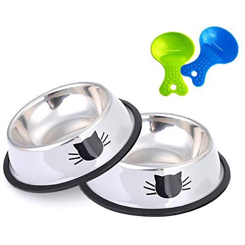 Legendog Futternapf Katze, 2 Stück Edelstahl rutschfest Katzen Napf | Katzenfutter Wassernapf Schüssel