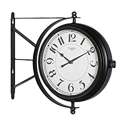 Bronze Double Faced Metro Station Wall Clock Vintage Round Antique Thermometer Modern Office Industrial