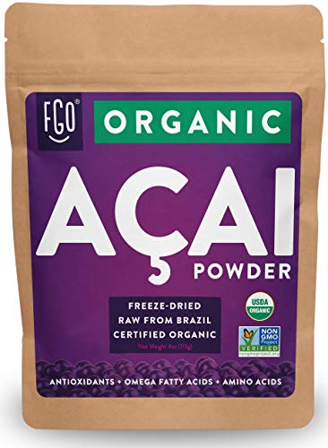 Organic ACAI Powder (Freeze-Dried) | 4oz Resealable Kraft Bag | 100% Raw Antioxidant Superfood Berry From Brazil | by FGO