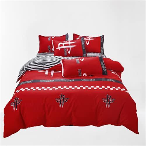 Funda Nórdica con Estampado Textil para El Hogar Ambiente De Moda Simple, Juego De 4 Piezas Suave Cómodo Y Fácil De Limpiar 200x230cm