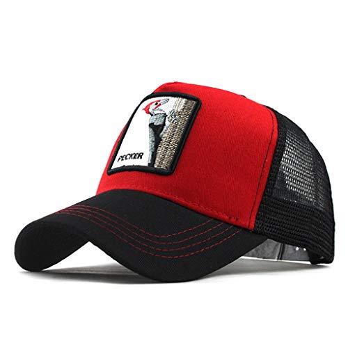DOLDOA Hut Damen Sommer,Unisex Outdoor Baumwolle Hochwertige Tier Bestickte Baseball Caps Einstellbar (Rot)