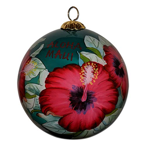 Collectible Maui Christmas Ornament Red Hibiscus Hand Painted from Inside The Glass with Gift Box HCC/M