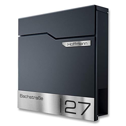 Metzler Design Briefkasten mit V2A Edelstahl-Namensschild - Wandbriefkasten in Anthrazit RAL 7016 - Postkasten inkl. Zeitungsfach - Größe: 37 x 37 x 10,5 cm