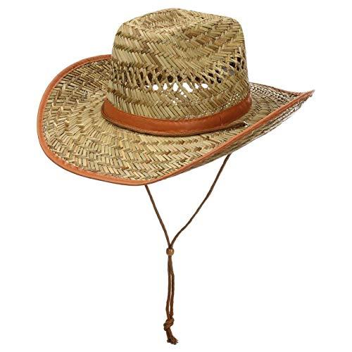 fiebig Westernhut aus Stroh für Damen und Herren | Luftiger Cowboyhut mit Kinnband | Strohhut mit Kunstlederband | Sonnenhut mit Schweißband & Einfass an der Krempe (61)