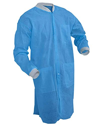 AMZ Disposable Lab Coats. Pack of 10 Blue Adult Robe. X-Large Size Polypropylene Fabric Lab Coats with Filtration Layer Non-sterile comfortable Workwear.