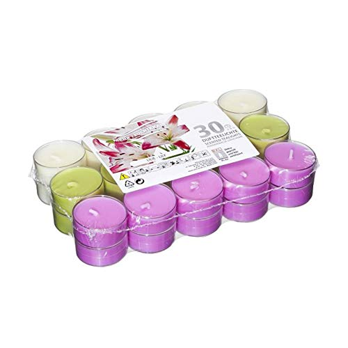 Smart-Planet® Kerzen Ambiente - 30 Duft Teelichter Lilie mit transparenter Hülle Blumen Duftteelichter Teelichte Set - 4 Stunden Lange Brenndauer