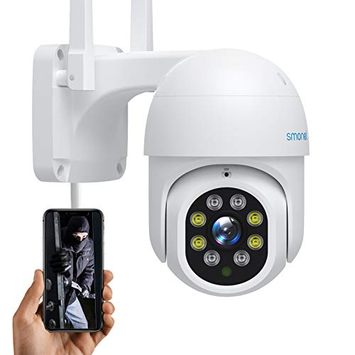 SMONET Security PTZ Camera Outdoor, 1080P HD WiFi Camera, Dome Cam with Night Vision 2-Way Audio Waterproof Motion Detection Cloud Service, Smart Home Video Surveillance IP Camera, Works with Alexa
