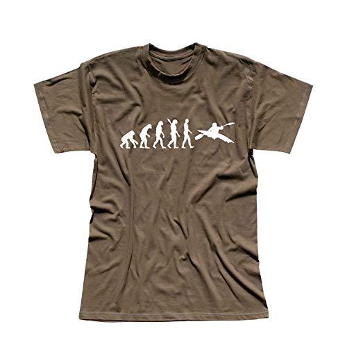 T-Shirt Evolution Kajak Kanadier Wassersport Kanu Club 13 Farben Herren XS - 5XL Paddel Boot Kanuwandern Verein Urlaub Wildwasser Ruderboot, Größe:M, Farbe:Khaki - Logo Weiss